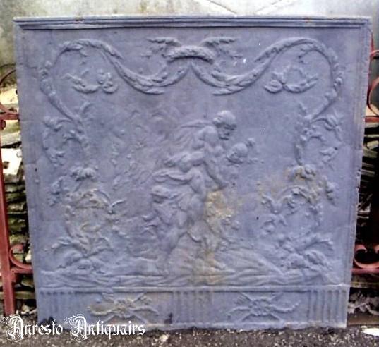 Ref. 07 - Antieke gietijzeren haardplaat, oude ijzeren vuurplaat