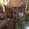 Ref. 32 - 2 exclusieve staande lampadaires samengesteld met antieke zuilen met linnenkappen foto 2