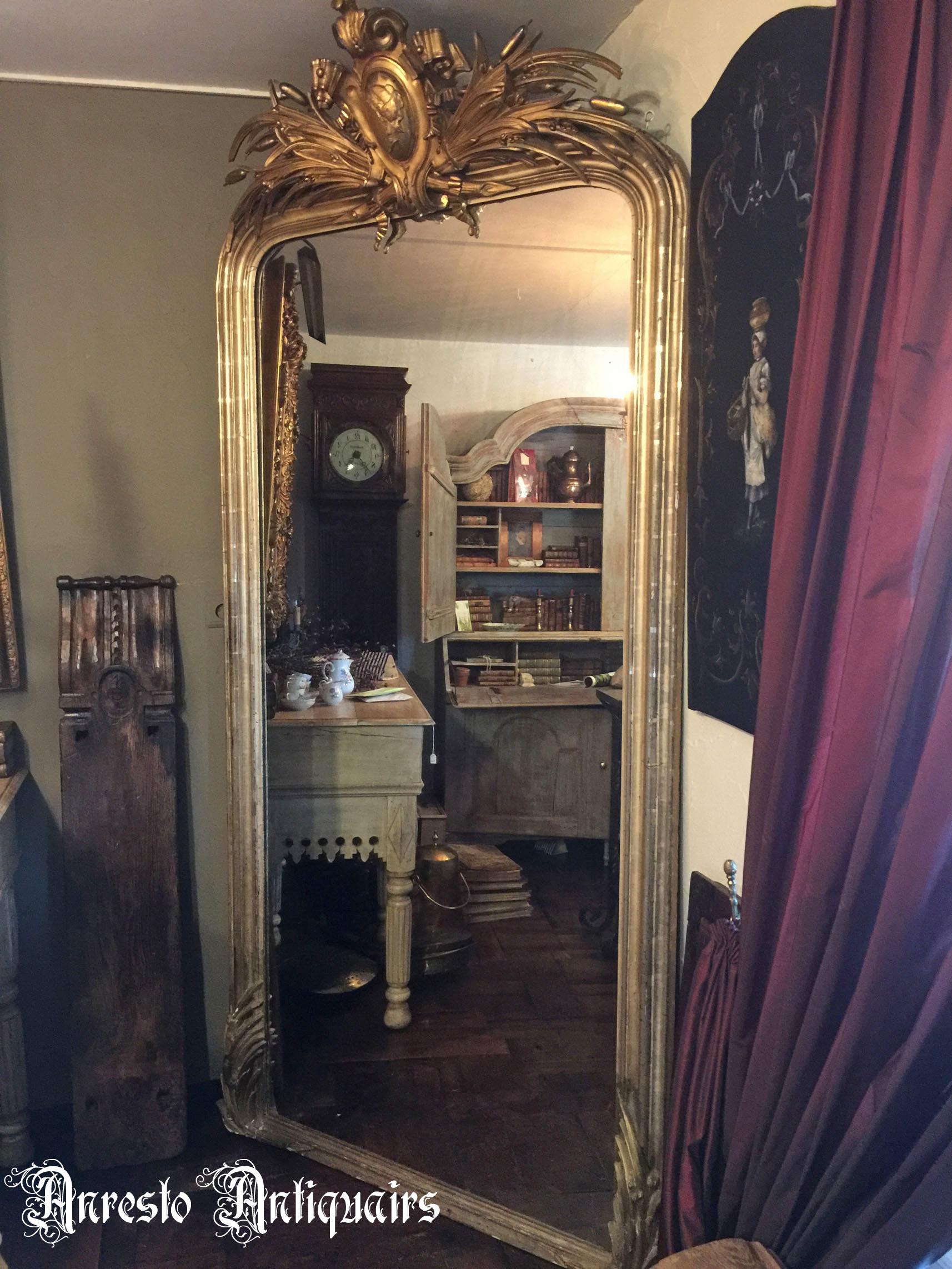 Ref. 34 – Antieke bladgouden spiegel, oude bladgouden halspiegel