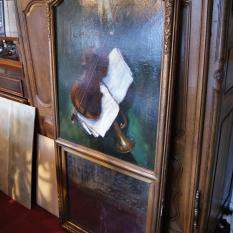 Ref. 09 – Antieke schouw spiegel met schilderij, oude wand spiegel met schilderij