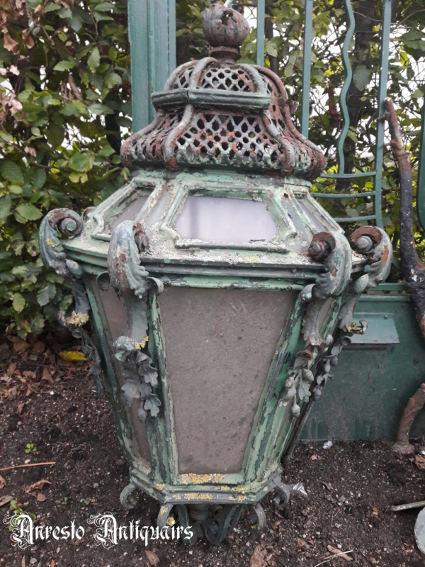 Ref. 10 – Antieke smeedijzeren lantaarnlamp, antieke smeedijzeren tuinlamp