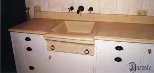 Ref. 32 – Keukenkast tablet in Bourgondische steen - Anresto keuken ontwerp