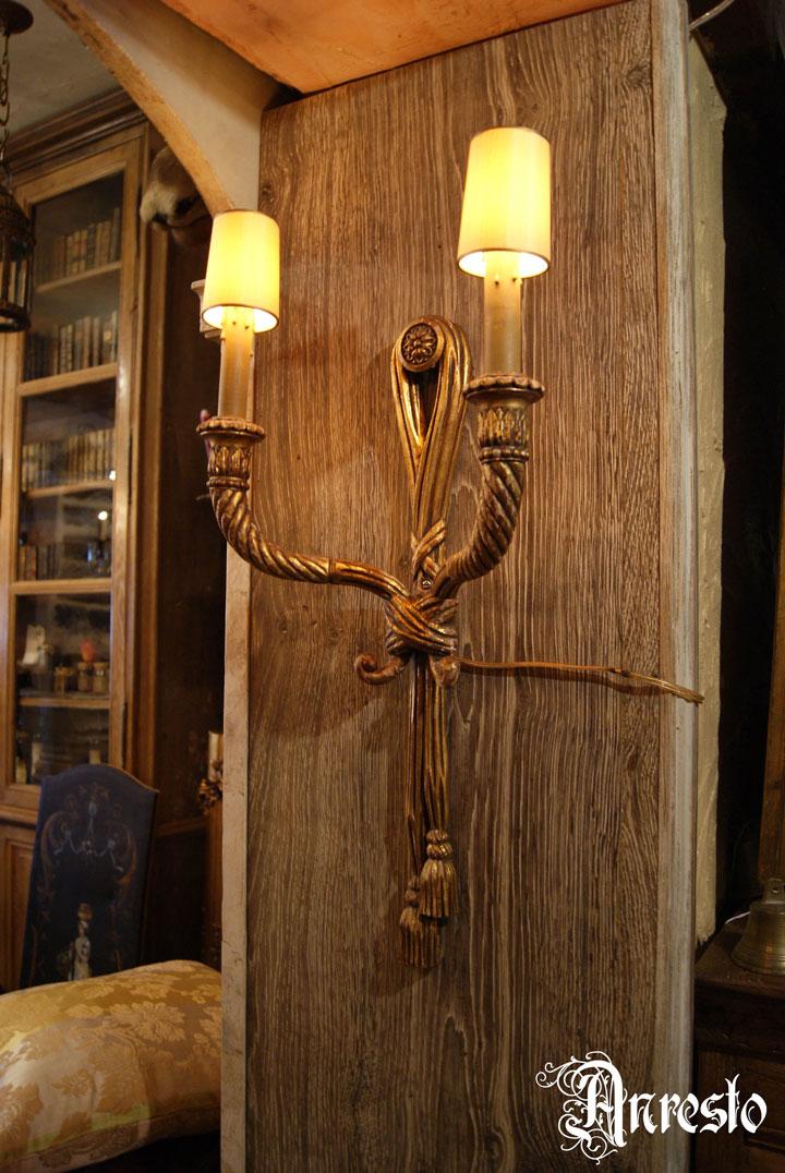 Wandlamp massief hout