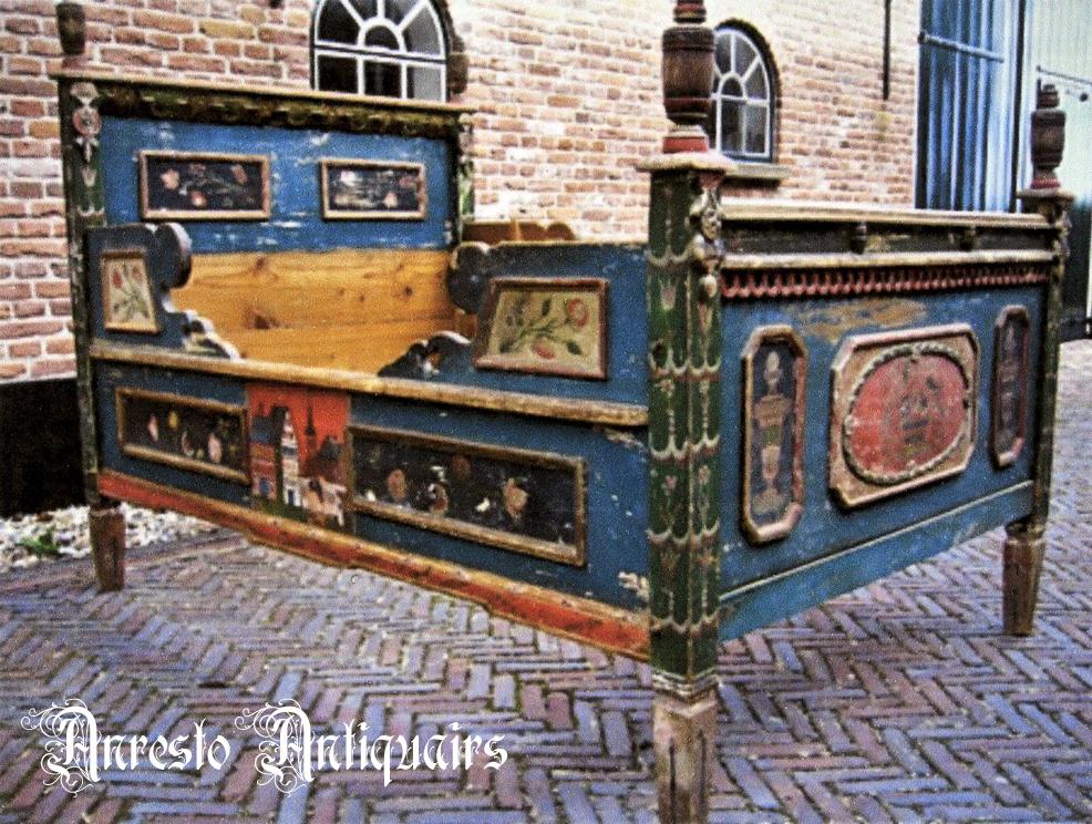 Ref. 43 – Exclusief antiek houten bed, antiek beschilderd houten bed foto 1