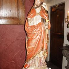 Ref. 32 – Antieke eikenhouten bisschop beeld, oude houten bisschop