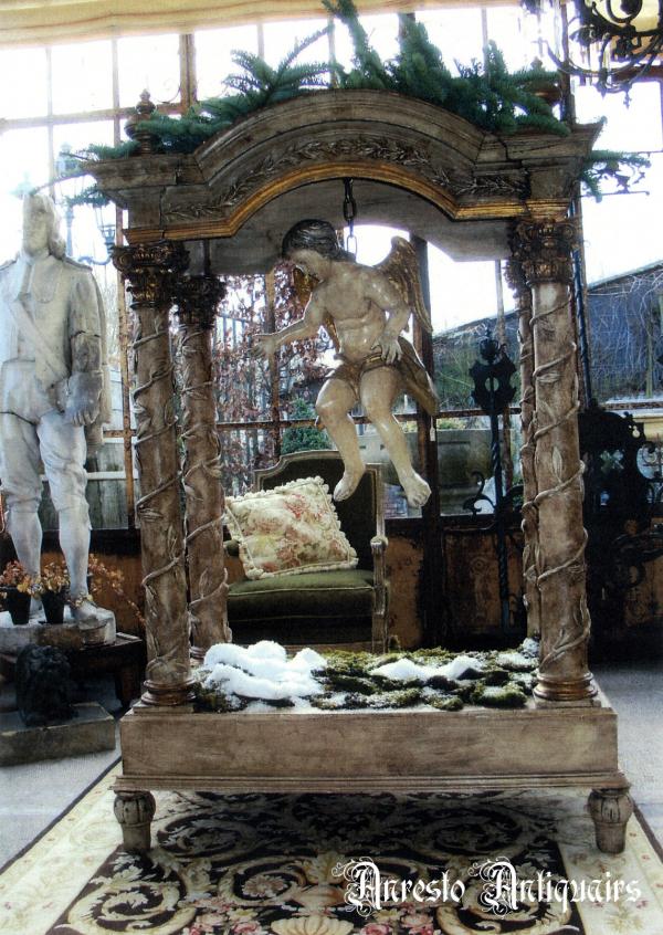 Ref. 48 – Antiek houten processie baldakijn, oud houten baldakijn foto 1